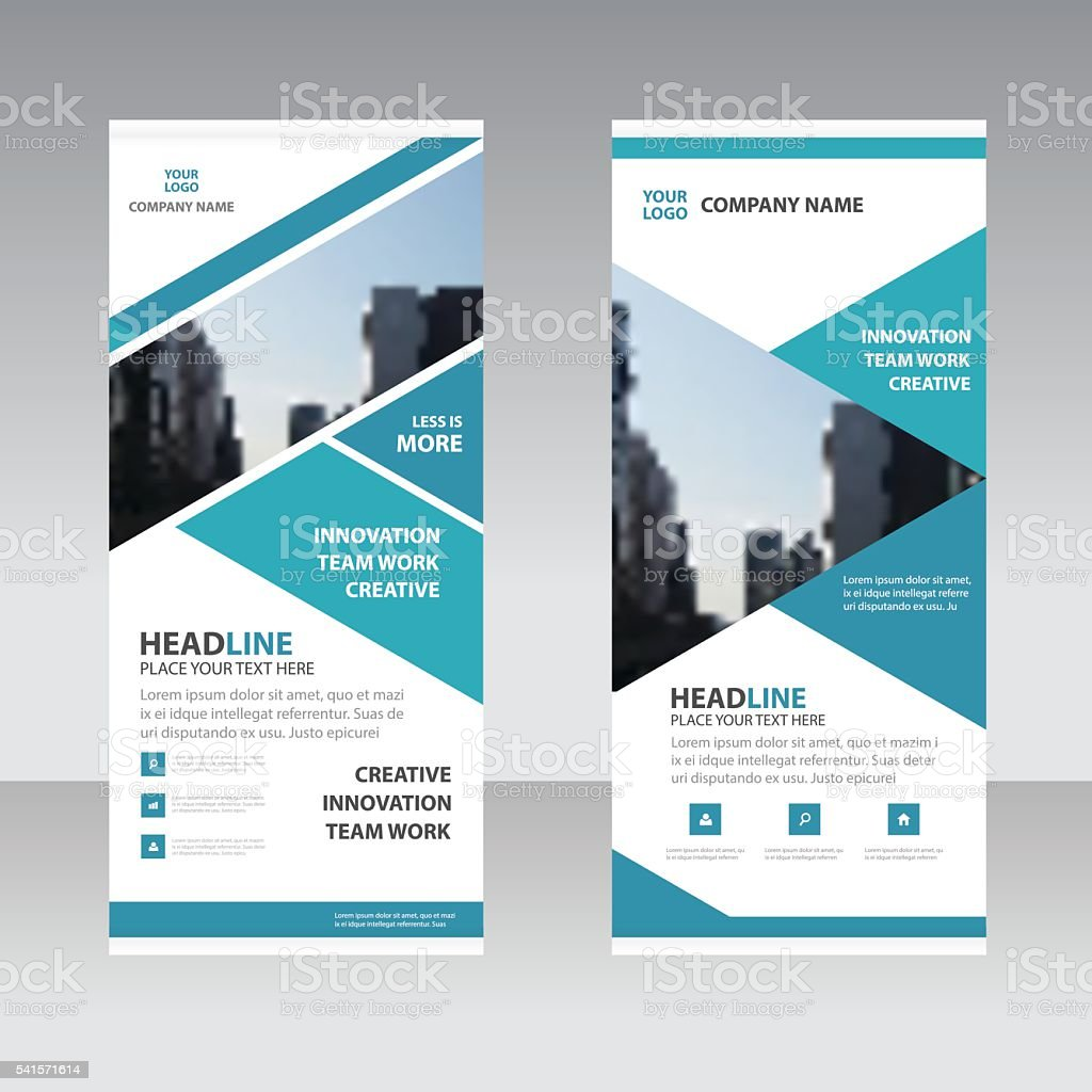Blue Abstract triangle Business Roll Up Banner flat design template vector art illustration