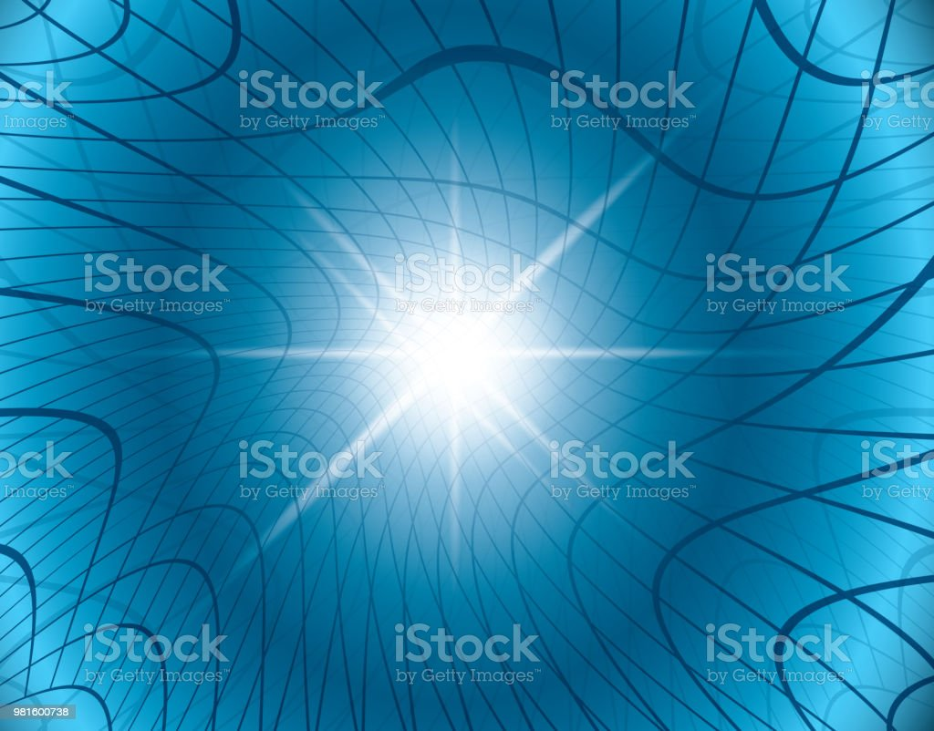 blue abstract vector background with warped grid - eps 10 vector art illustration