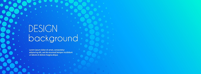Blue abstract vector business long banner template. Business minimal background with halftone circle frame