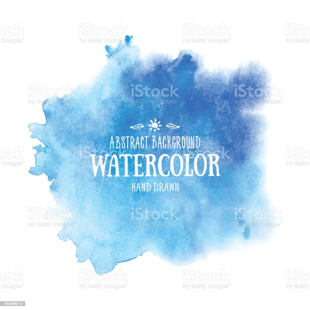 Blue abstract watercolor background. Hand drawn watercolor stains vector art illustration