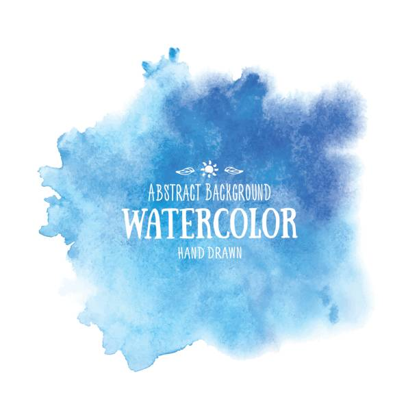 blue abstract watercolor background. hand drawn watercolor stains - watercolor background stock illustrations, clip art, cartoons, & icons