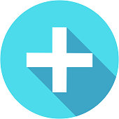 istock Blue Add plus icon in flat style with long shadow 1133187284