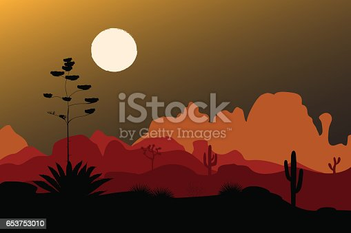 Blue agave flower silhouette in night desert. Mountains background. Vector illustration