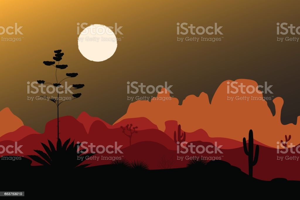 Blue agave silhouette in night desert. Mountains background. Vector illustration vector art illustration