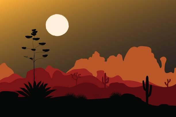 Silueta de agave azul en el desierto de noche. Fondo de montañas. Ilustración de vector - ilustración de arte vectorial