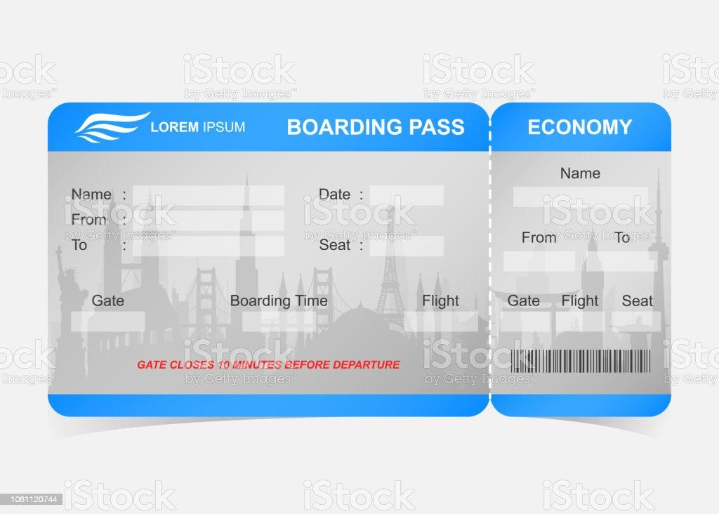 Blue flygbolaget boarding pass biljett vektorkonstillustration