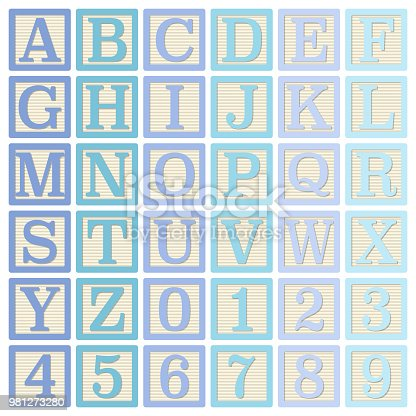 Complete set of 26 letter blocks (A through Z) and 10 number blocks (0 through 9)