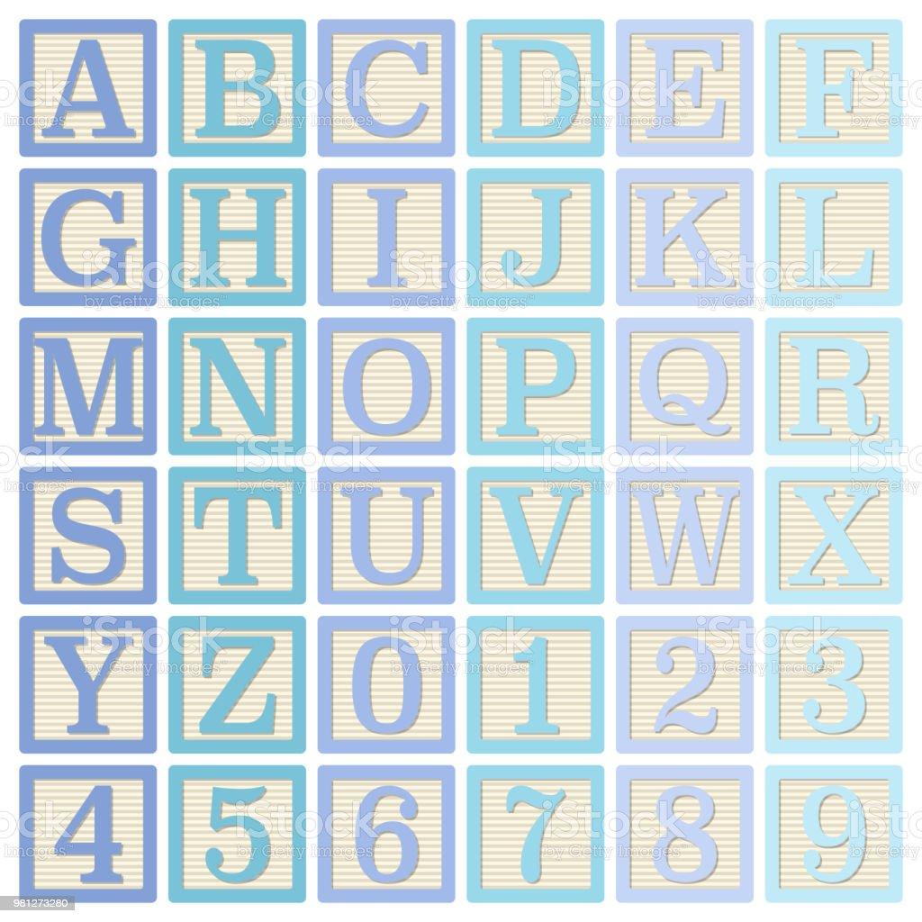 Bloques del alfabeto azul - ilustración de arte vectorial