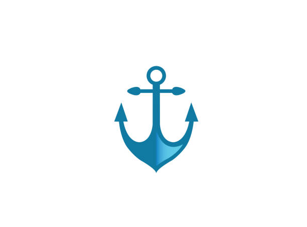 blue anchor for boat and yacht for logo design illustration vector art illustration
