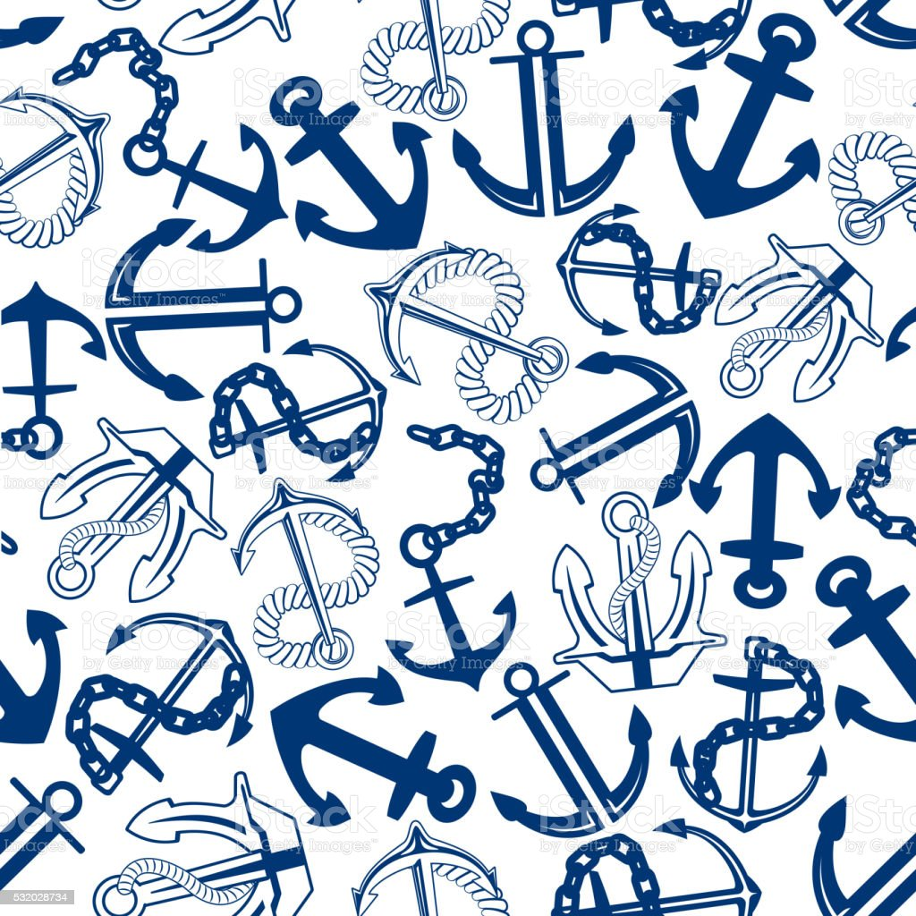 Blue anchors with chains, ropes seamless pattern vector art illustration