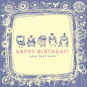 Blue and beige sketched owl happy birthday card