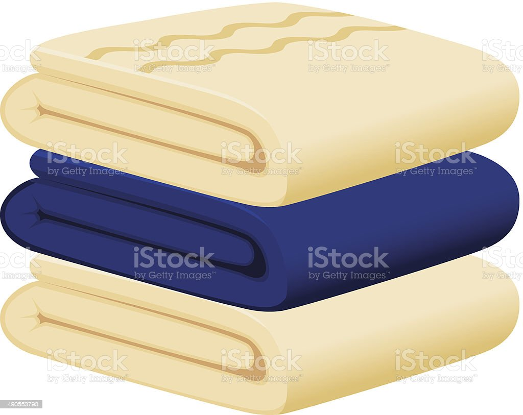 Blue and beige towels vector art illustration