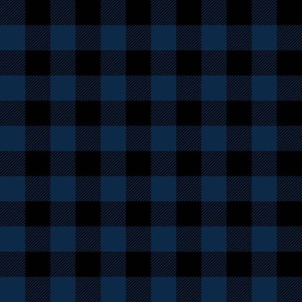 blue and black buffalo plaid seamless pattern - mens fashion stock illustrations, clip art, cartoons, & icons