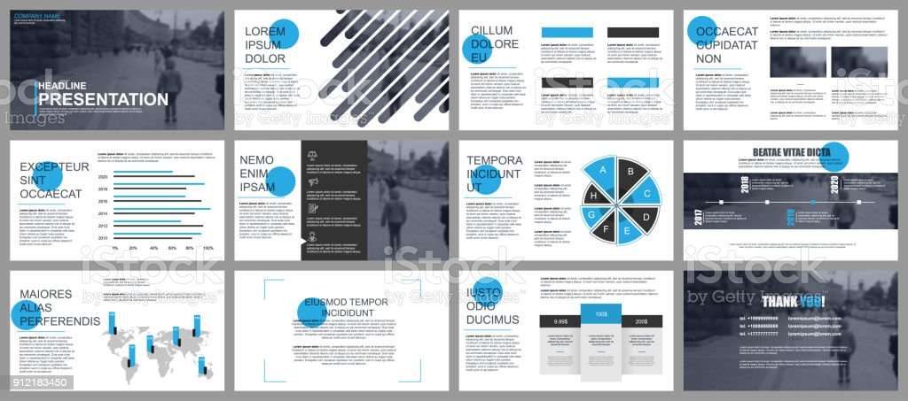 Blue and black business presentation slides templates векторная иллюстрация