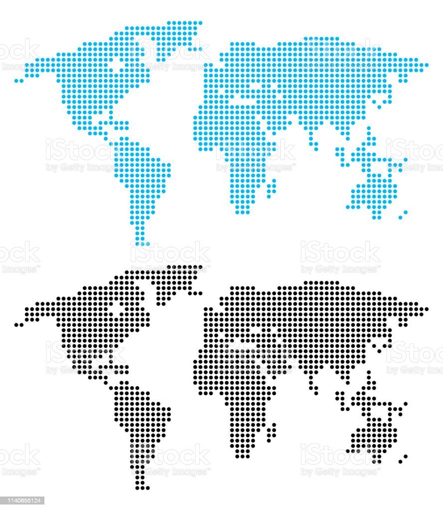 Blue and black dots world map on white background, vector illustration