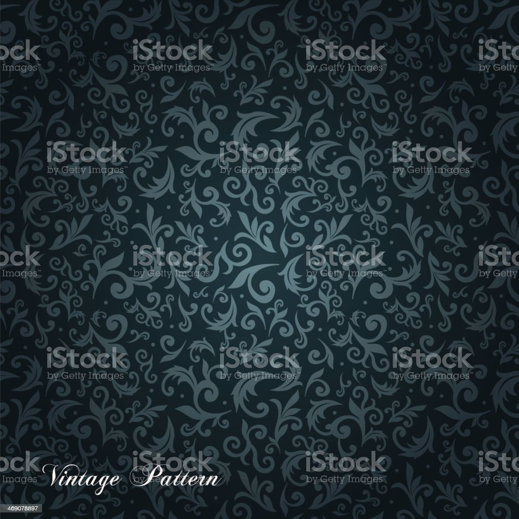 Blue and black ornate floral seamless texture background vector art illustration