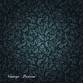 Blue and black ornate floral seamless texture background