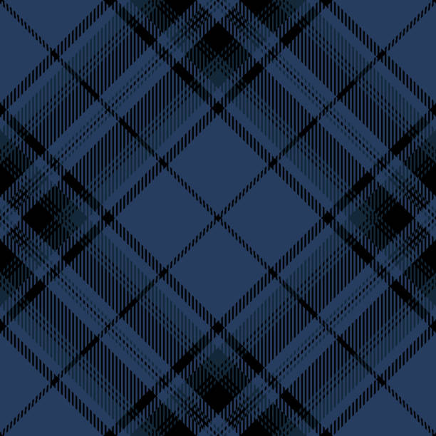 Blue And Black Scottish Tartan Plaid Textile Pattern Blue and black Scottish tartan plaid seamless diagonal textile pattern background. tartan pattern stock illustrations