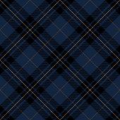 Blue, black and brown Scottish tartan plaid seamless diagonal textile pattern background.