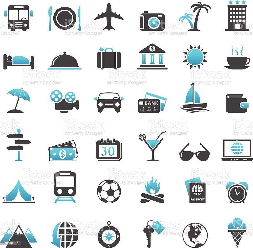 Blue and black travel icons on a white background vector art illustration