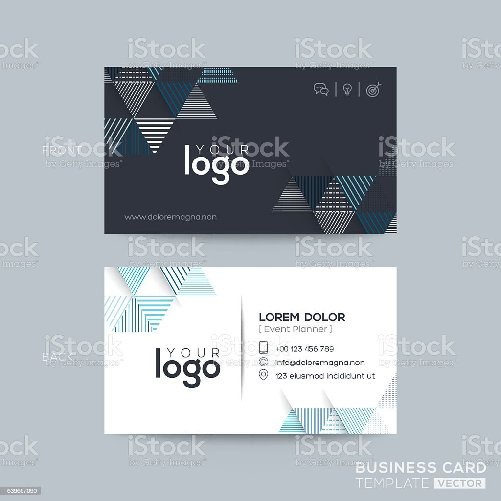 blue and black triangle modern business card design アイデ