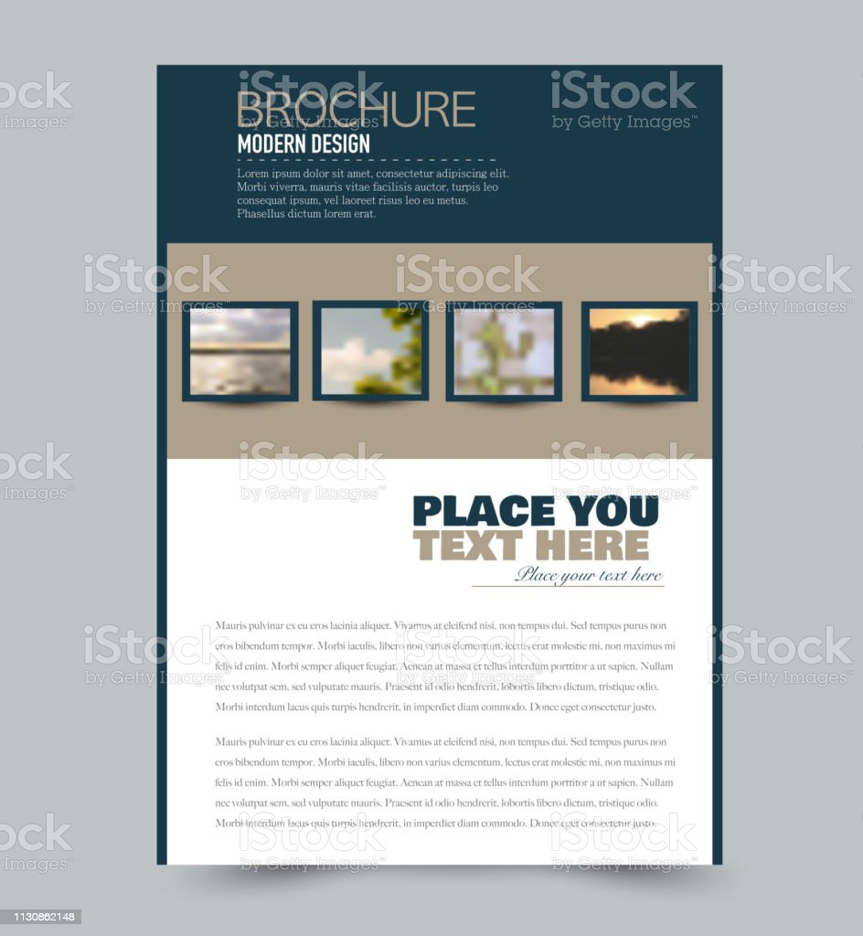 Blue and brown flyer design template with built in images. Brochure for business, education, presentation, advertisement. Corporate identity style concept. Editable vector illustration. - illustrazione arte vettoriale