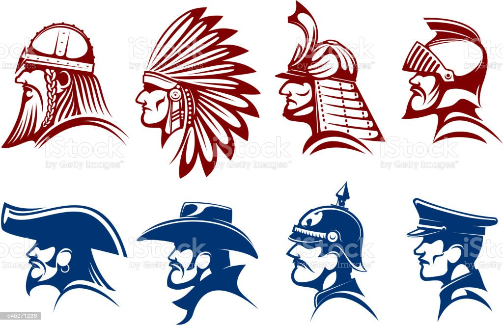 Blue And Brown Icons Of Warriors Soldiers Symbols Stock Vector Art
