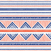 Blue and Coral Hand Drawn Tribal Stripes and Zig-Zags Vector Seamless Pattern. Stylised Dense Ethnic Geo Cloth Textured Background. Graphic Print Perfect for Fashion Home Decor.