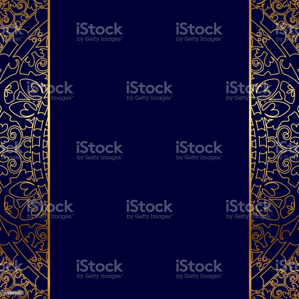 Blue and gold backgound vector art illustration