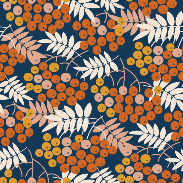 Blue and gold bright rowanberry seamless pattern Blue and gold bright rowanberry seamless pattern for autumn design. Fall natural rowan repeatable motif for fabric, wrapping paper, surface protect. autumn patterns stock illustrations