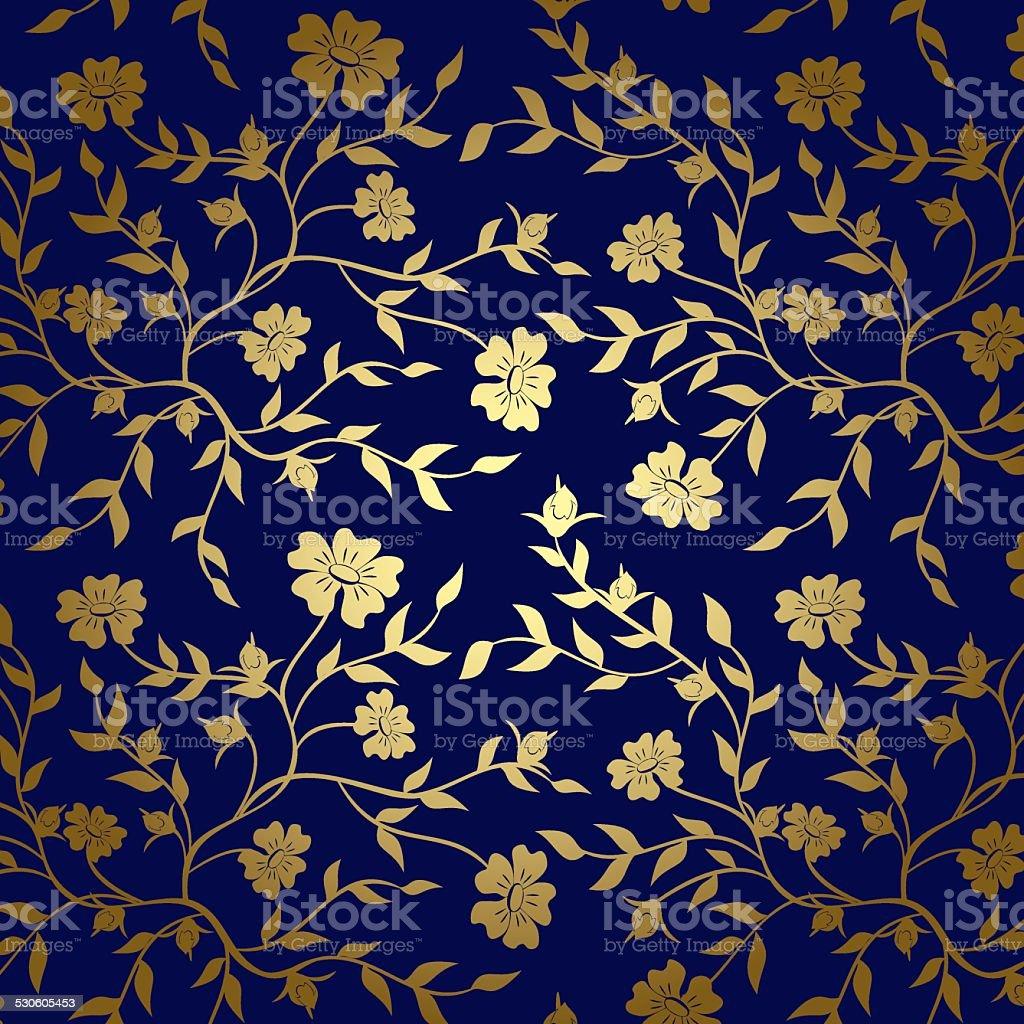 Blu E Oro Floreale Texture Di Sfondovettoriale Immagini Vettoriali