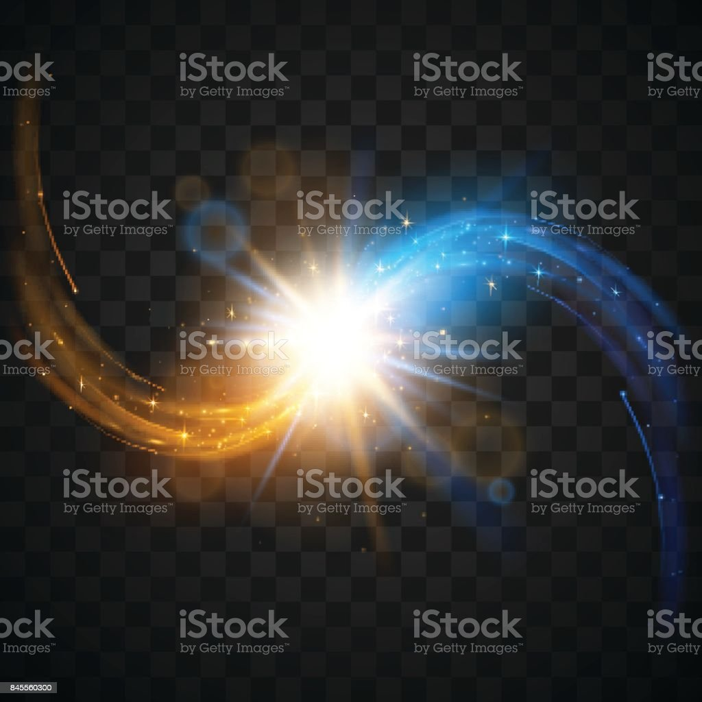 Blue and gold forces lights vector art illustration