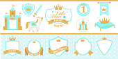 Birthday party and boy baby shower design elements. Royal collection of little prince's labels (tag, badge).