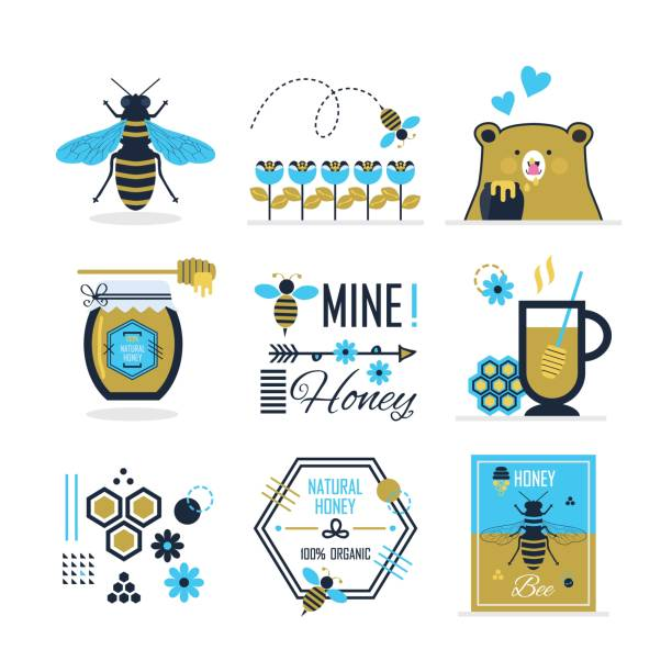 Blue and golden cute summer, honey,  bee and a bear icons, signs, symbols and design elements set on white background Blue and golden cute summer, honey,  bee and a bear icons, signs, symbols and design elements set on white background queen bee stock illustrations