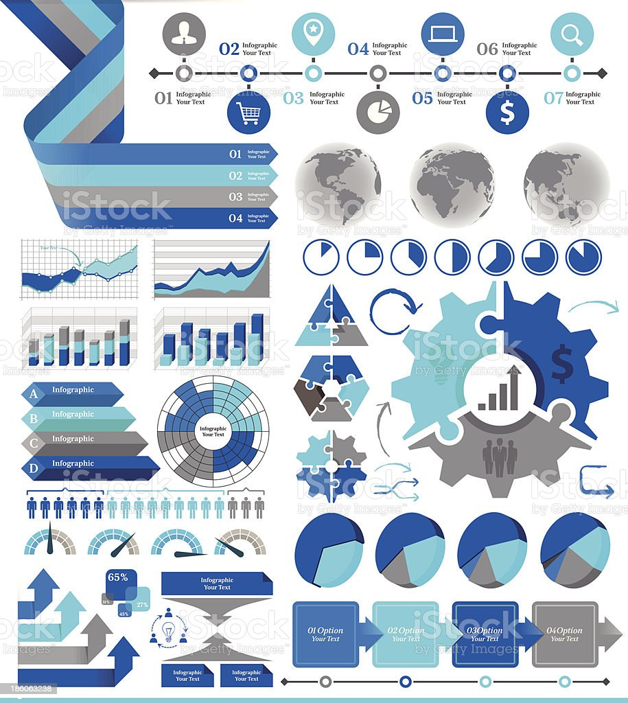 Blue and gray business infographic vector art illustration