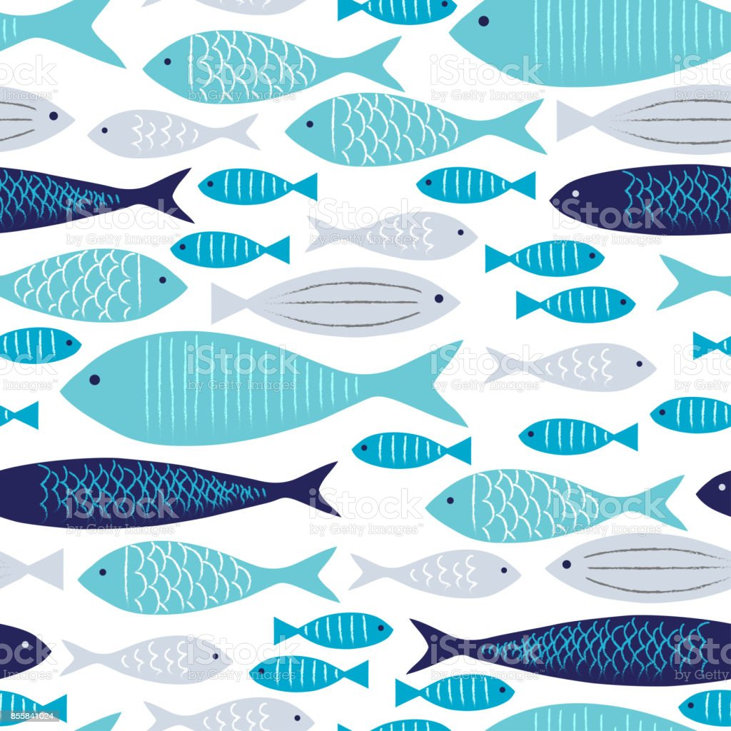 Blue and Gray Fishes Seamless Pattern with White Background. vector art illustration