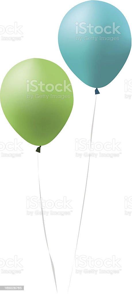 blue and green balloons vector art illustration
