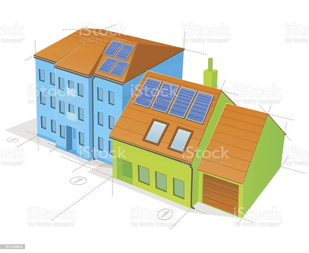 Blue and Green Buildings royalty-free stock vector art