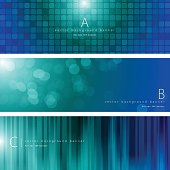 Vector of blue and green color background banner set with transparency pattern design.