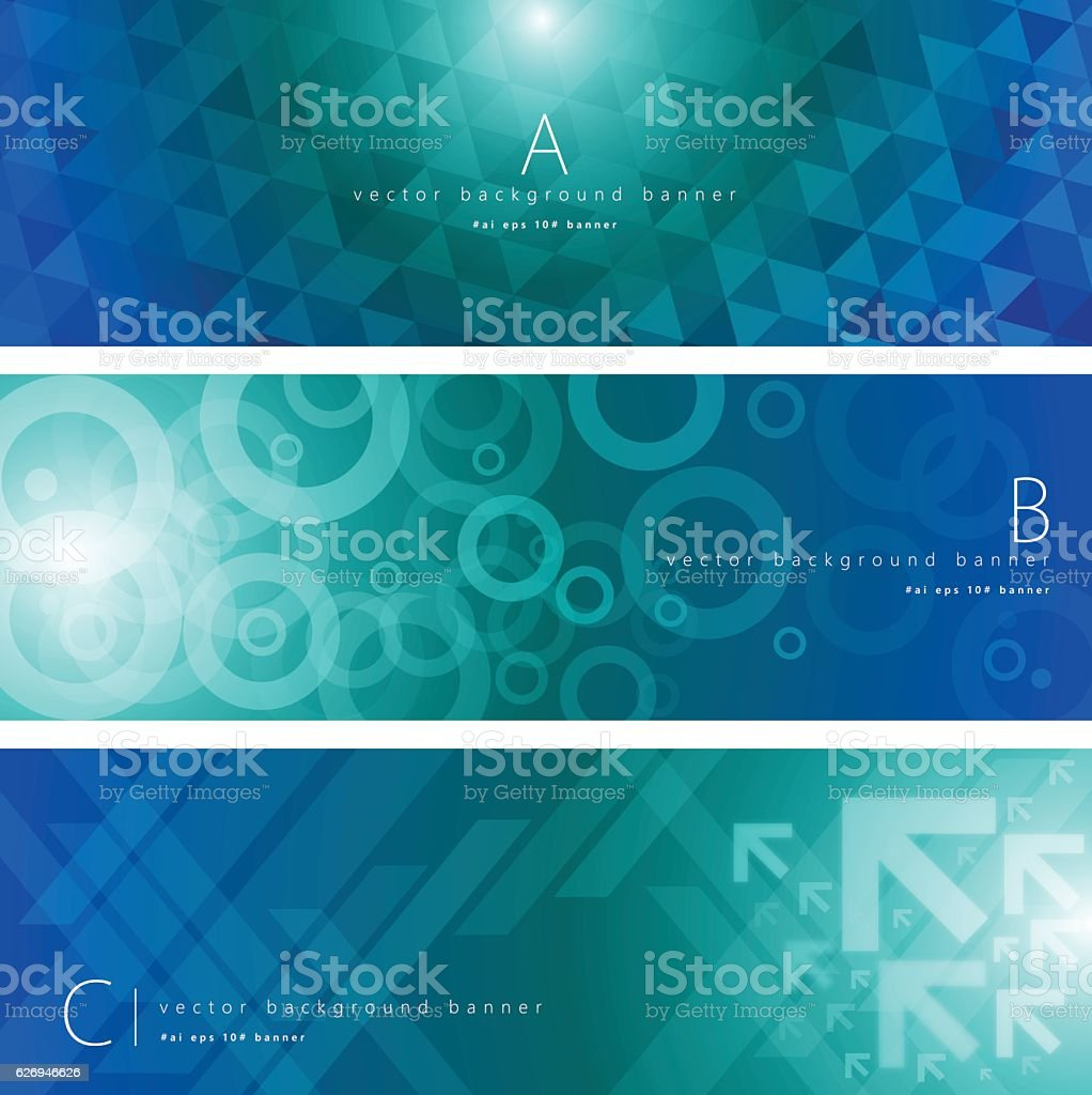 Blue and green color pattern background banner set - ilustração de arte em vetor