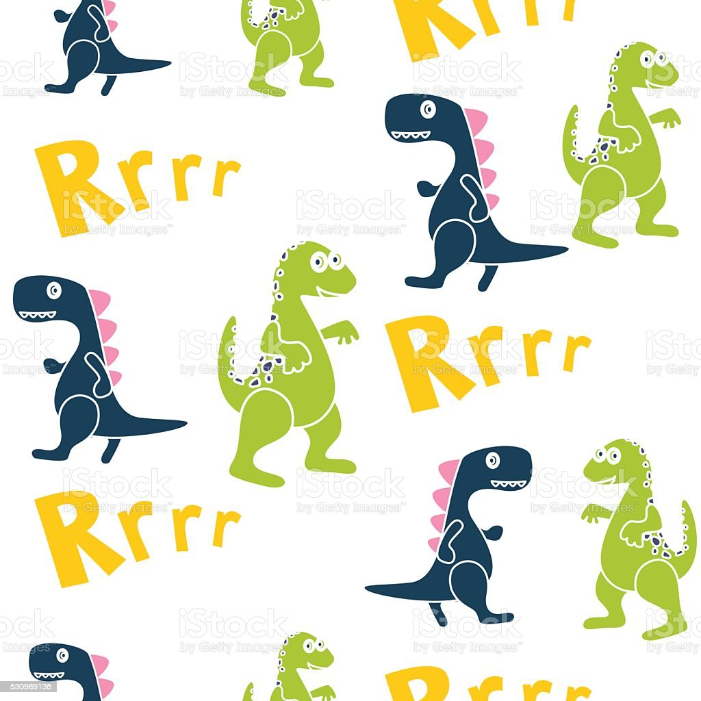 blue and green dinosaurs kid seamless vector pattern for textile