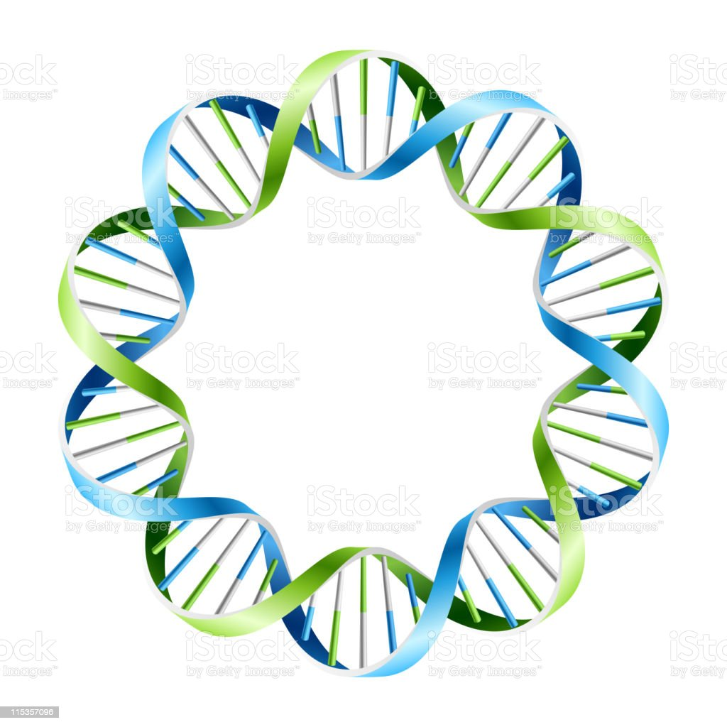 Blue and green DNA strand wreath vector art illustration