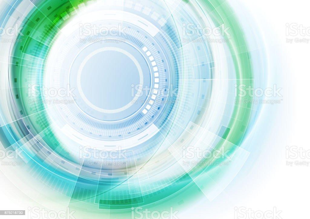 Abstrato azul e verde tecnologia futurista - ilustração de arte em vetor