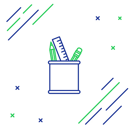 Blue and green line Pencil case stationery icon isolated on white background. Pencil, pen, ruler in a glass for office. Colorful outline concept. Vector Illustration