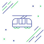 Blue and green line Tram and railway icon isolated on white background. Public transportation symbol. Colorful outline concept. Vector Illustration