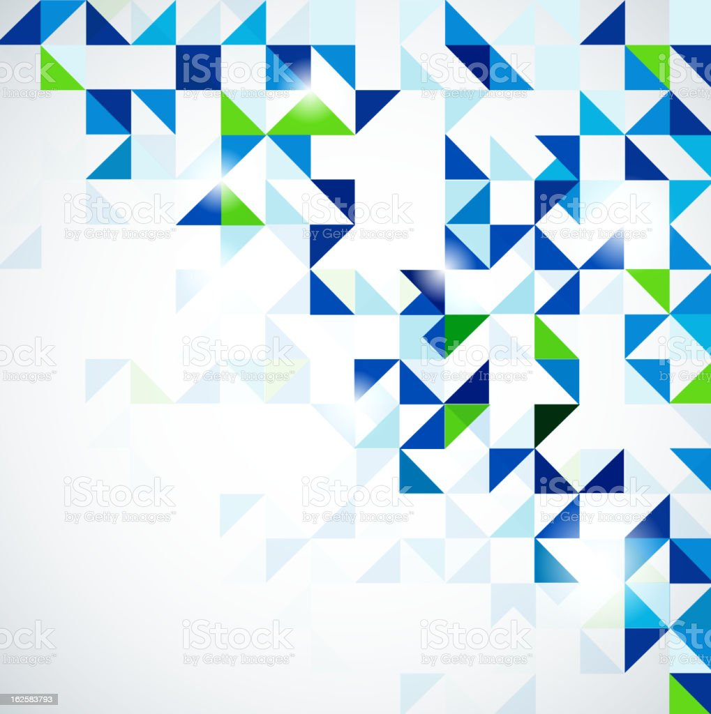 Blue and green mosaic of triangles fading into white royalty-free stock vector art