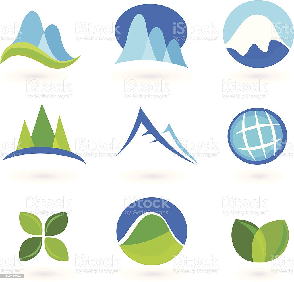 Blue and green nature icons royalty-free stock vector art