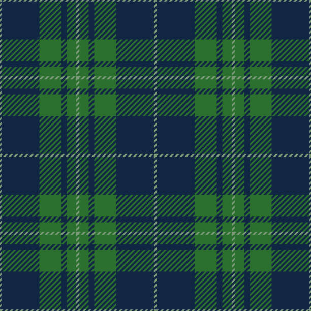 blue and green tartan plaid seamless pattern design - checked pattern stock illustrations