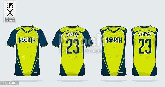 istock Azul y verde camiseta deporte diseño plantilla para camiseta de  fútbol 423f5aa846615