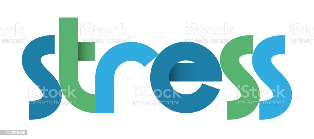 Stress Blue And Green Typography Banner Stock Illustration Download Image Now Istock